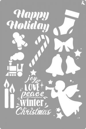 LA PAJARITA Happy Holiday stencil